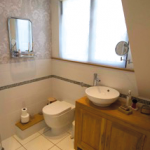Bathroom with compact toilet and sink